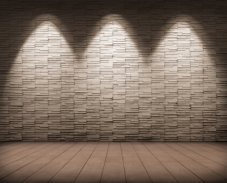 lighting on tile wall and wood floor. Stock Photo - 18399410
