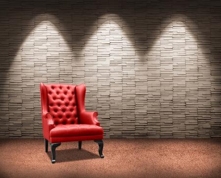 room with lighting on red armchair. Standard-Bild - 18399424