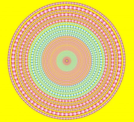 brightly abstract circle on yellow background. Stock Photo - 18399426