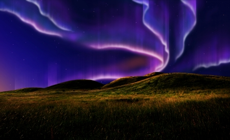 northern light on the silent field before sun rise. Stock Photo