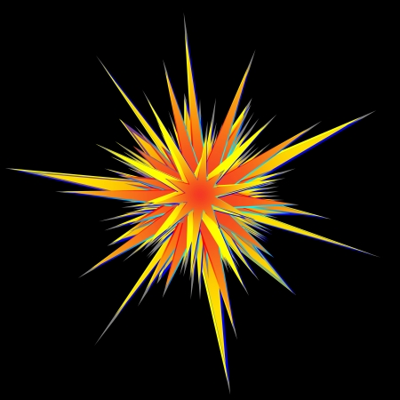 abstract explosion orange and yellow flare on black. Stock Photo - 18399394