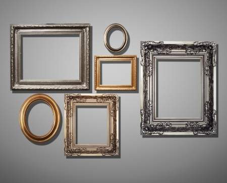 frames decorated on grey wall. Standard-Bild - 20144003