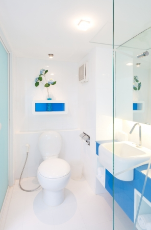 saubere weiße Toilette in der Wohnung