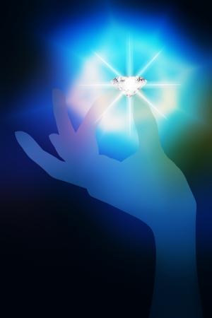 dazzlingly: transparent hand nip flashing diamond Stock Photo