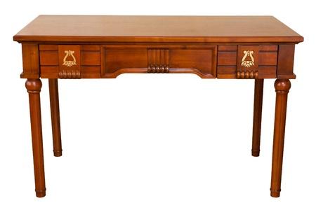 muebles de madera: vector de la vendimia aislado en blanco con la ruta