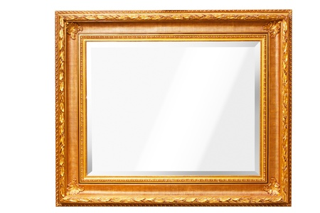 mirror frame: mirror with gold frame isolated Stock Photo