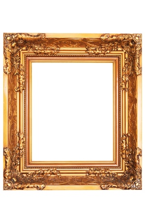 gild: specchio classico con cornice in oro isolato Archivio Fotografico