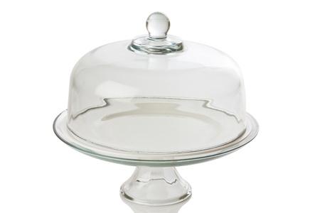 Glas Kuchen Tablett auf weißem
