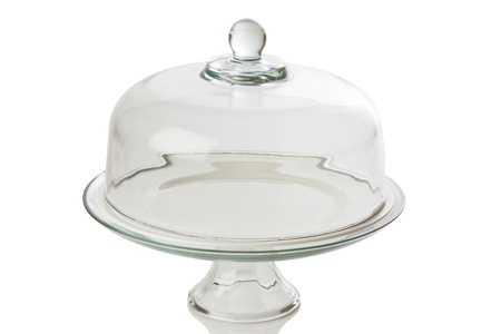 glass cake tray on white