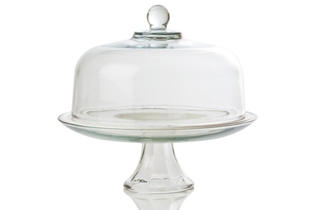 cake stand: glass cake stand on white