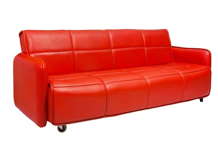 Ordinaire Red Leather Sofa With Wheels Stock Photo   20943069
