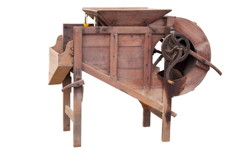 wood agricultural: wood agricultural machinery( for cut paddy from ear)on white background Stock Photo