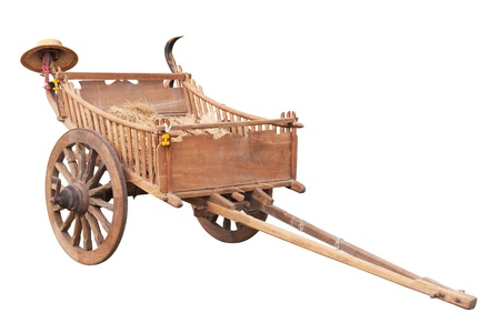 wooden cart isolated on white background Stock Photo