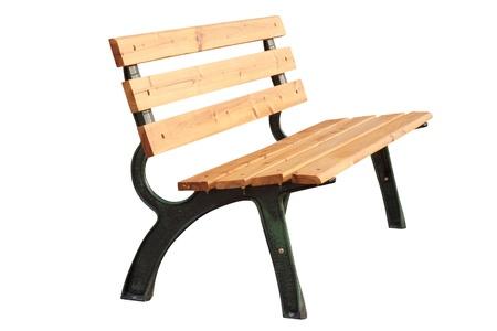 banc de parc: bois avec banc en métal isolé sur blanc