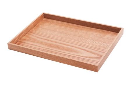 Holz Tablett isoliert auf weiß