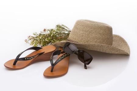 Urlaub Accessoires auf weißem Hintergrund Lizenzfreie Bilder