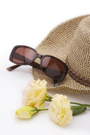 head wear: vacation accessories on white background