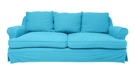 simply modern blue sofa isolated on white photo