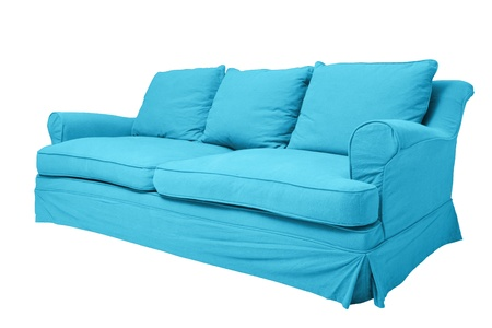 simply modern blue couch isolated on white photo