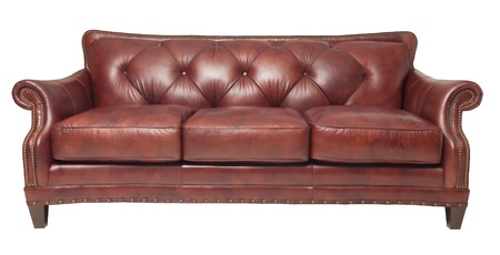 brown luxury leather couch isolated on white
