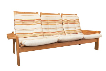 vintage wood sofa with cushions isolated on white Stock Photo - 21652393