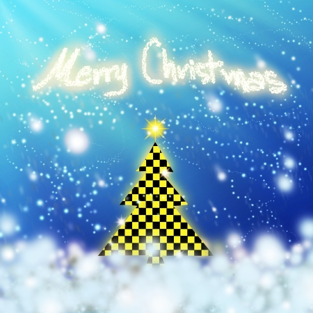 chess black & yellow christmas tree with snow on blue background. photo