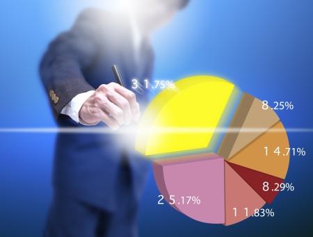 cake pick: businessman select a pice of virtual cake graph. Stock Photo