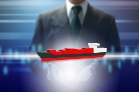 oversea: businessman show virtual oversea ship. Stock Photo