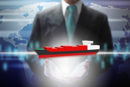 oversea: businessman show virtual oversea ship with wold map background. Stock Photo
