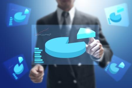 businessman point on virtual monitor.