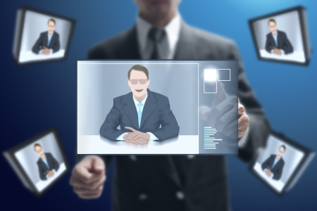 tele communication: businessman talk to his partnership with video conference. Stock Photo