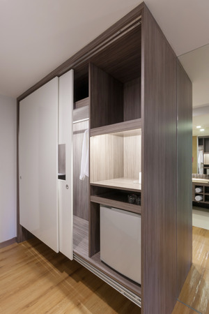 sliding doors wardrobe in hotelroom.
