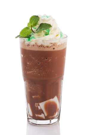 chocolate mint: choco with whipped cream isolated on white background.
