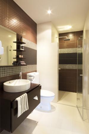 고급 현대적인 스타일의 인테리어 욕실.