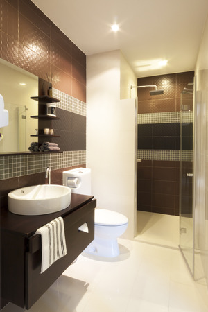 clean bathroom: luxury modern style interior bathroom. Stock Photo