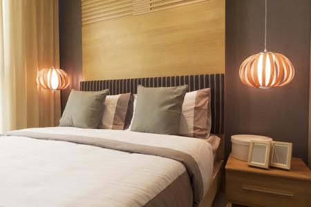 luxury bedroom: luxury bedroom decorated with wood.