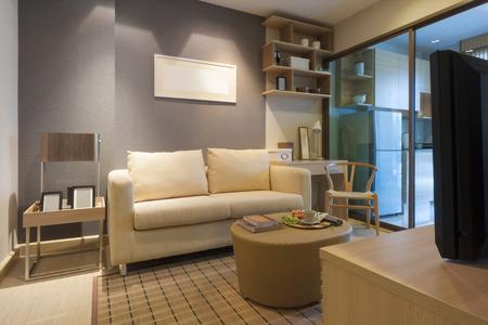 style japonais moderne décoré salon et chambre kicthen.