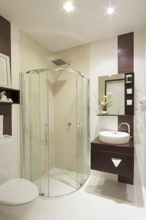 luxury small bathroom in hotel.