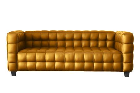 modern sofa: modern golden leather sofa isolated on white.