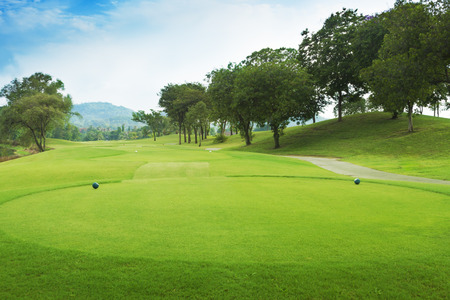 putting green: golf course from tee off green.