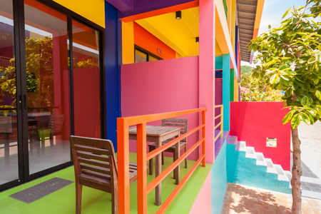 neighbour: colorful building of Xanadu Beach Resort on Kohlan, Pattaya, Thailand.