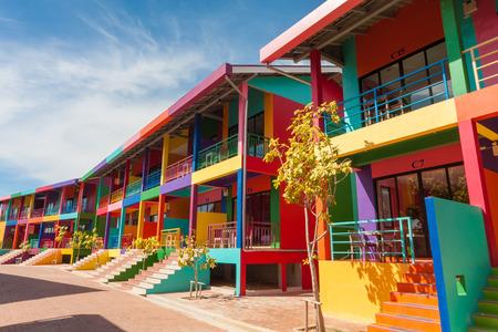 realestate: colorful building of Xanadu Beach Resort on Kohlan, Pattaya, Thailand.