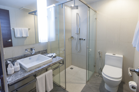 dryer  estate: toilet and bathroom with rain shower head. Stock Photo