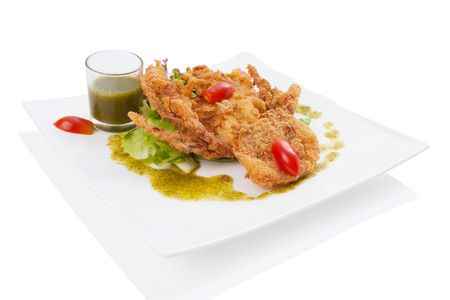 soft-shell crab salad isolated on white. photo