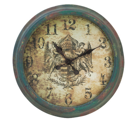 reloj de pared: reloj de la vendimia aislado en blanco.