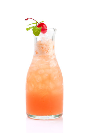 mocktail: fruity mocktail in bottle isolated on white.
