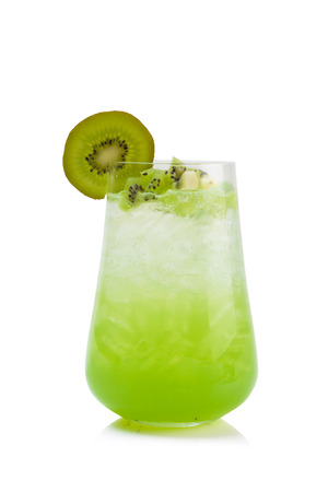 kiwi soda isolated on white. Stock Photo