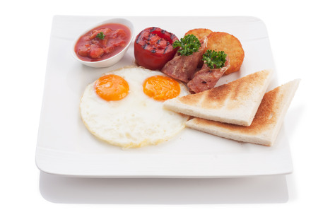 hashbrown: delicious breakfast isolated on white.
