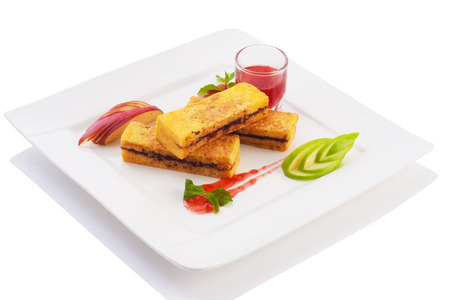 sliced apple: bread with jam and sliced apple isolated