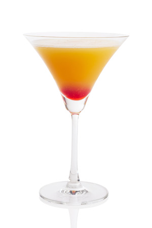 tequila sunrise cocktail isolated on white.